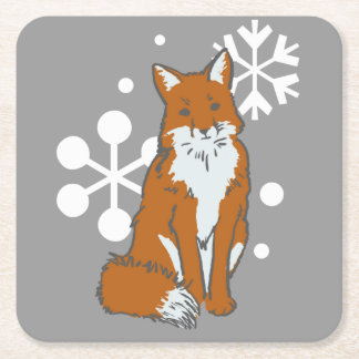独身のなSnowyの冬のアカギツネパターン スクエアペーパーコースター