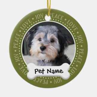 独身の味方される名前入りな犬の写真フレーム- セラミックオーナメント