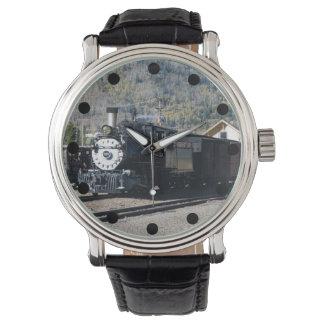 狭いゲージの蒸気機関車の腕時計 腕時計