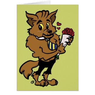 狼人間のブラインドデートのハロウィンの挨拶状 カード