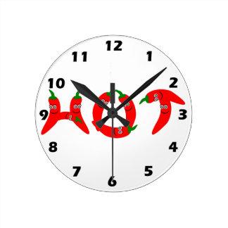 猛烈なチリペッパーの柱時計 ラウンド壁時計