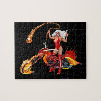 猛烈なドラゴンのバイクもしくは自転車に乗る人の可愛い人 ジグソーパズル