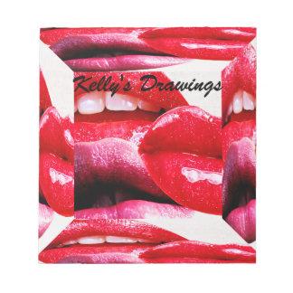 猛烈な口紅の唇 ノートパッド