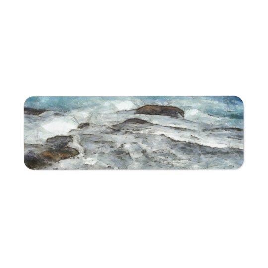 猛烈に石を覆う水 ラベル