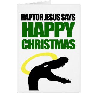 猛禽イエス・キリストは楽しいクリスマスを言います カード