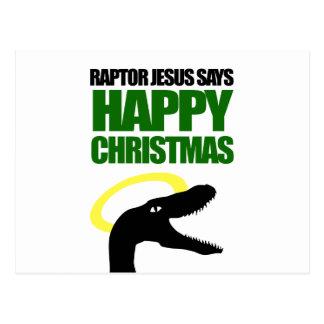 猛禽イエス・キリストは楽しいクリスマスを言います ポストカード