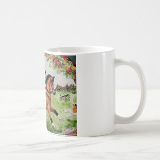 猟犬へのコーギーの猟師の乗車 コーヒーマグカップ