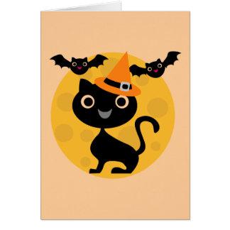 猫およびこうもりのハロウィンのTシャツおよびギフト カード