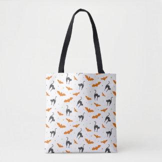 猫およびこうもりハロウィン トートバッグ