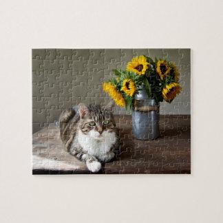猫およびヒマワリ ジグソーパズル