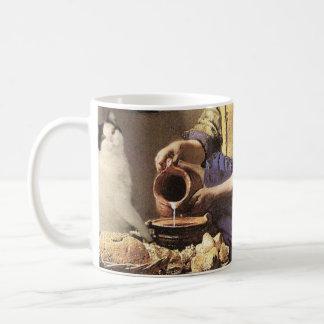 猫およびミルクのファインアートのマグ コーヒーマグカップ