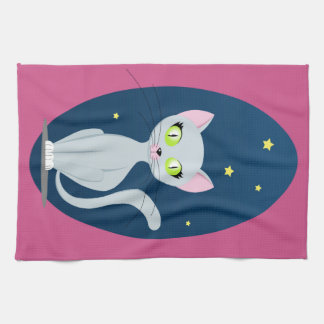 猫および夜空は背景の台所タオルを飾ります キッチンタオル