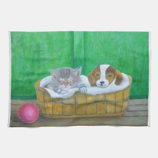 猫および子犬 キッチンタオル