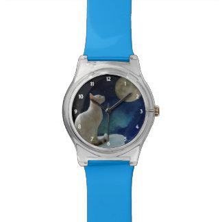 猫および月 腕時計