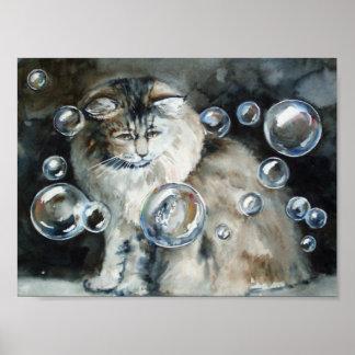 猫および泡芸術のプリント ポスター