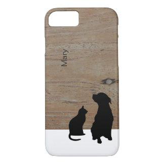 猫および犬は絵の木製の一流の箱のシルエットを描きます iPhone 8/7ケース