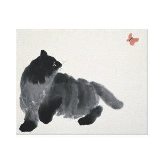 猫および蝶 キャンバスプリント