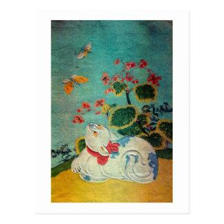 猫および蝶、Suzuki Harunobu ポストカード