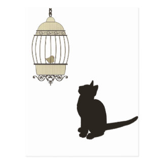 猫および鳥かご ポストカード