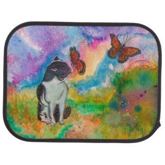 猫および(昆虫)オオカバマダラ、モナークの(2後部席の置いて下さい)カーマット カーマット