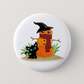 猫およびPumpkinmanボタン 缶バッジ