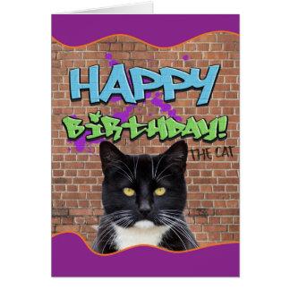 猫からのおもしろいなハッピーバースデーの落書き グリーティングカード