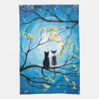 猫が付いているお洒落な月 キッチンタオル