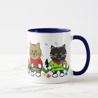 猫が付いているかわいい漫画のマグ マグカップ