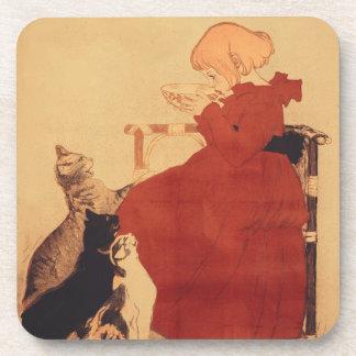 猫が付いているコースターのヴィンテージの芸術の女の子のすするミルク コースター