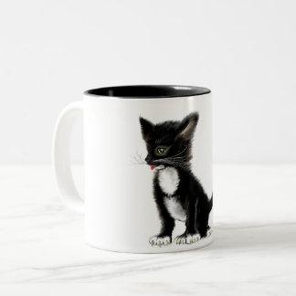 猫が付いているコーヒー・マグ ツートーンマグカップ