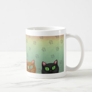 猫が付いている白いマグ コーヒーマグカップ