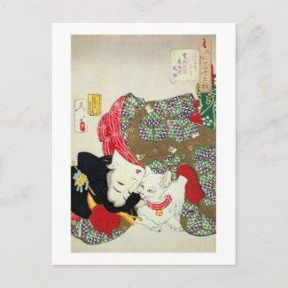 猫が好き、芳年I愛猫、Yoshitoshi、Ukiyo-e はがき