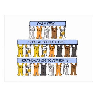 猫が祝う11月1日の誕生日 ポストカード