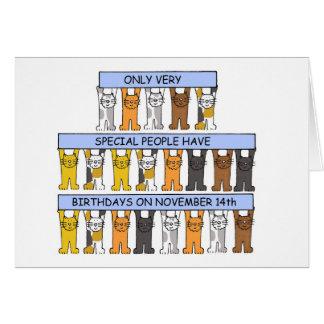 猫が祝う11月14日の誕生日 カード