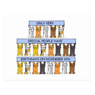 猫が祝う11月14日の誕生日 ポストカード