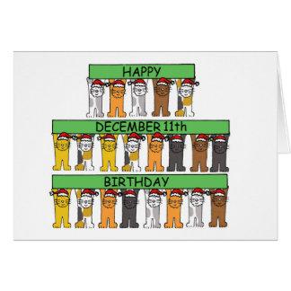 猫が祝う12月11日の誕生日 カード
