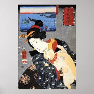 猫と女、国芳猫および女性、Kuniyoshiの浮世絵 ポスター