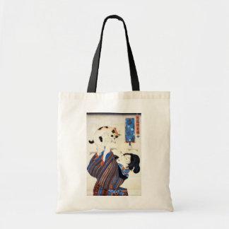 猫と女、国芳猫および女性、Kuniyoshi、Ukiyo-e トートバッグ