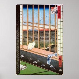猫と富士山、広重猫および富士山、Hiroshige ポスター