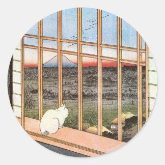 猫と富士山、広重猫および富士山、Hiroshige ラウンドシール