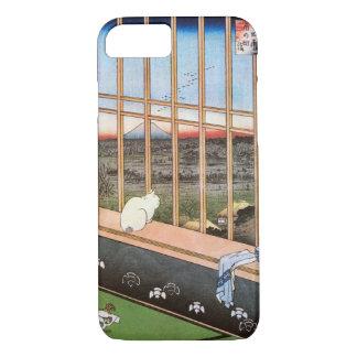 猫と富士山、広重猫および富士山、Hiroshige、Ukiyo-e iPhone 8/7ケース