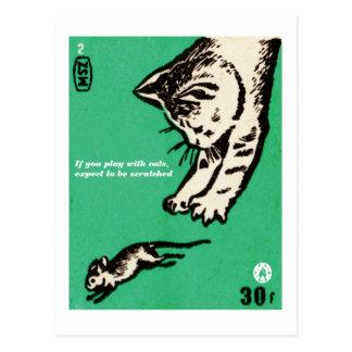 """""""猫と遊んだら、""""傷付けられると期待して下さい ポストカード"""