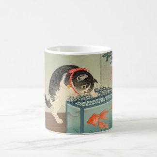 猫と金魚、古邨猫及び金魚、Koson、Ukiyo-e コーヒーマグカップ