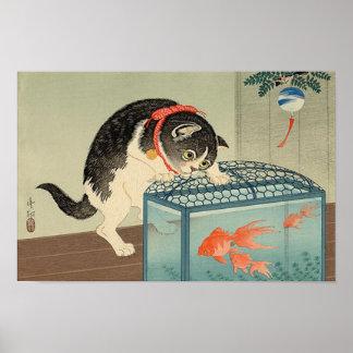 猫と金魚、古邨猫及び金魚、Koson、Ukiyo-e ポスター