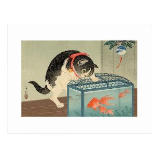 猫と金魚、古邨猫及び金魚、Koson、Ukiyo-e ポストカード