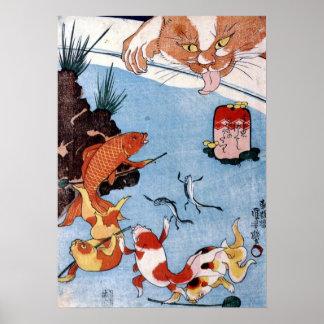 猫と金魚、国芳猫および金魚、Kuniyoshi、Ukiyo-e ポスター