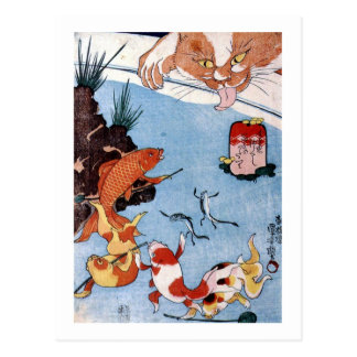 猫と金魚、国芳猫および金魚、Kuniyoshi、Ukiyo-e ポストカード