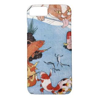 猫と金魚、国芳猫および金魚、Kuniyoshi、Ukiyo-e iPhone 8/7ケース