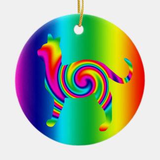 猫によって形づけられる虹のねじれ セラミックオーナメント