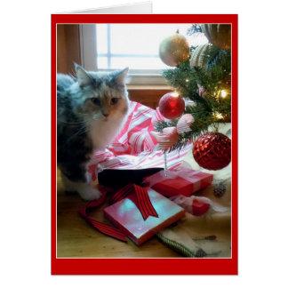 猫によって破裂させる開始クリスマスプレゼント早く カード